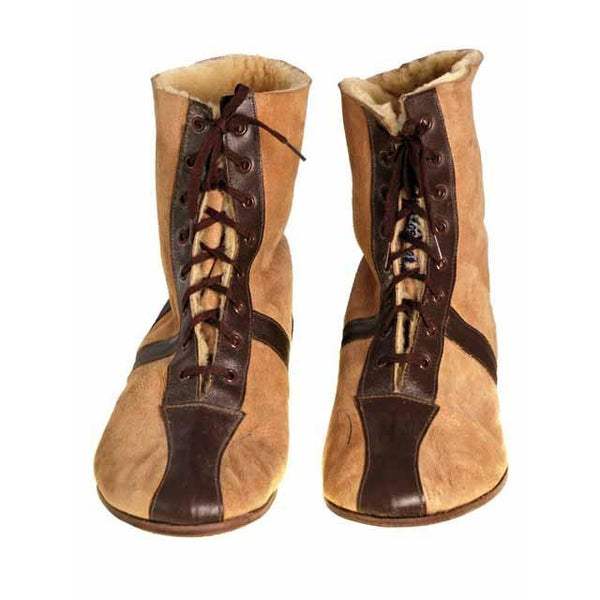 Mens Vintage Sherpa Suede 2-Tone Boots 1940S Mens Size 8.5 NIB Wannigan - The Best Vintage Clothing  - 2