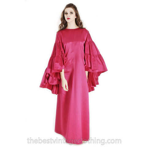 Stunning Vintage Vuokko Finish Designer Oscars Gown Tyrskyranta Fuchsia Pink Silk Creation  Cape Sleeves Red Carpet  S