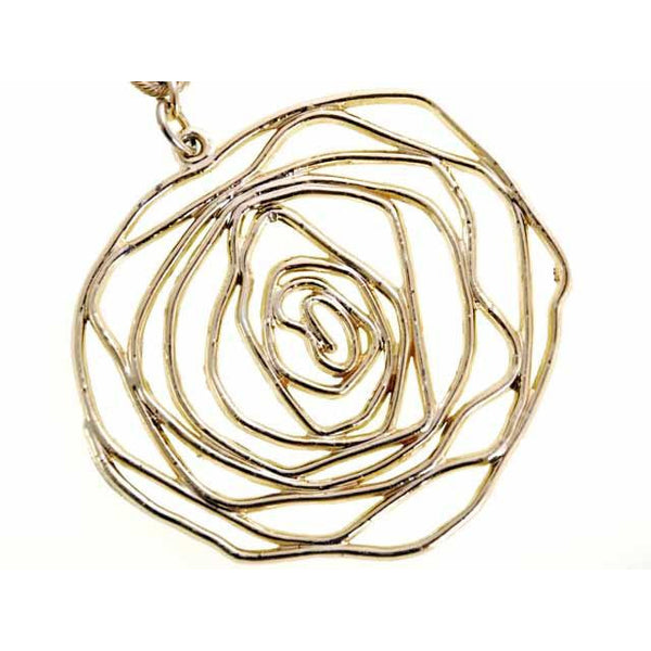 Vintage Stylized Golden Rose Pendant Necklace Large 1960s - The Best Vintage Clothing  - 4