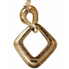 Vintage Gold Tone Large Moderne Fob Necklace 1970s Lisner - The Best Vintage Clothing  - 3
