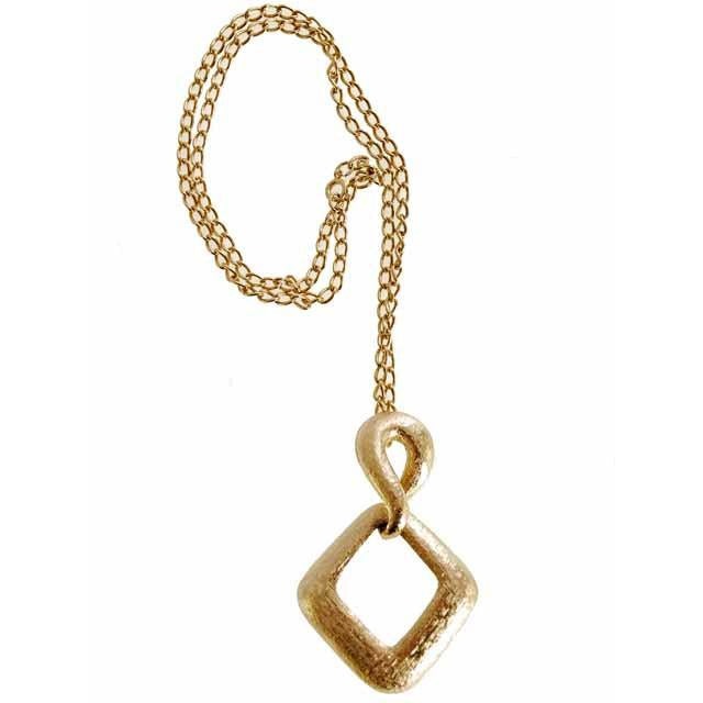Vintage Gold Tone Large Moderne Fob Necklace 1970s Lisner - The Best Vintage Clothing  - 1