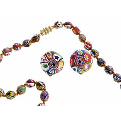 "Vintage Venetian Millefiori Beads Necklace & Earrings 1930s 28"" Knotted Colorful - The Best Vintage Clothing  - 7"