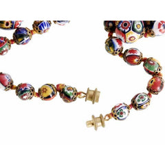 "Vintage Venetian Millefiori Beads Necklace & Earrings 1930s 28"" Knotted Colorful - The Best Vintage Clothing  - 5"