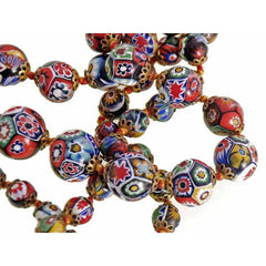 "Vintage Venetian Millefiori Beads Necklace & Earrings 1930s 28"" Knotted Colorful - The Best Vintage Clothing  - 4"