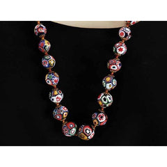 "Vintage Venetian Millefiori Beads Necklace & Earrings 1930s 28"" Knotted Colorful - The Best Vintage Clothing  - 3"