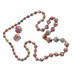 "Vintage Venetian Millefiori Beads Necklace & Earrings 1930s 28"" Knotted Colorful - The Best Vintage Clothing  - 2"