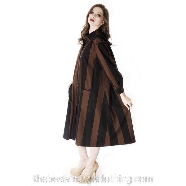 Vintage Vuokko Suomi Cotton Shirt/Tent Dress Coat  1970s Black & Brown Bold Stripes M