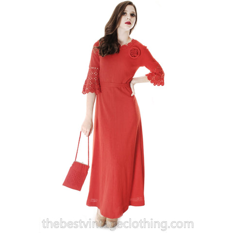 Vtg Finnish Red Wool Knitted Maxi Dress & Matching Bag 1970s Punainen Rukki