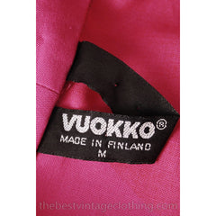 Vintage 1960s Vuokko Fuchsia Gown Huge Red Polka Dots Elasticated Bubble Hem & Cuffs M