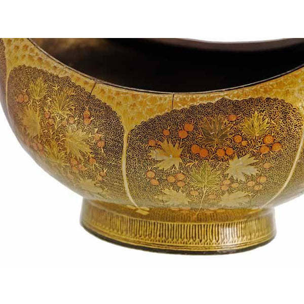 Vintage Hand Painted Gilt Polychrome Lacquer Boat Shaped Bowl Suffering Moses - The Best Vintage Clothing  - 4