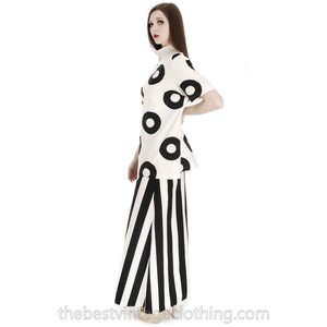 Vintage 1970s Vuokko Designer Black And White Circles Print Tunic Cotton 44 M