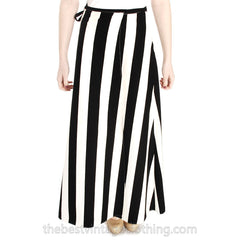 Vintage 1970s Vuokko Striped Wrap Skirt Designer Maxi Black & White Iconic