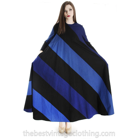 Vintage 1973 Vuokko Designer Iconic Maxi Tent Dress Black Blue METSÄ Stripes 36 Small
