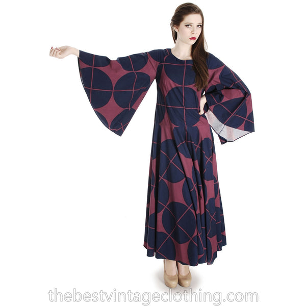 Vintage Marimekko Katsuji Wakisaka Angel Sleeve Full Skirt Maxi Dress Cotton 40/12 Blue Red