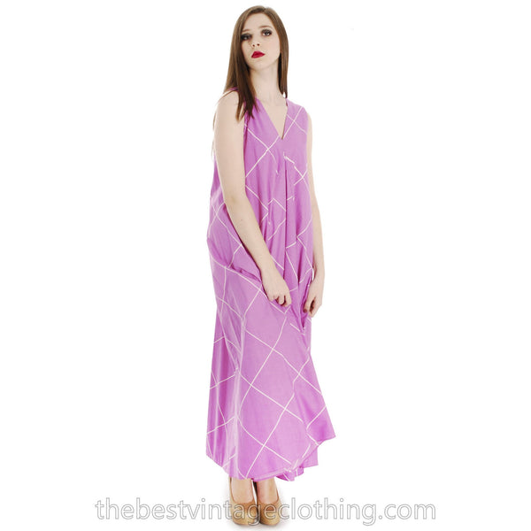 Vintage 1971 Marimekko  Designer Iconic Tent Dress Purple White Lines 38 /10