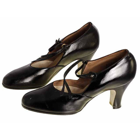 VINTAGE Patent Leather Shoes Mary Jane Button 1920s Walk Over NIB EU 36 US 6