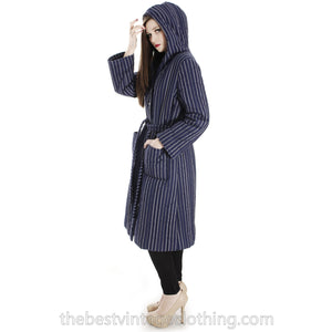 Vintage 1970s Blue Vuokko Suomi Finland Striped Cotton Quilted Coat Snap Front Mod EU 42 S M L