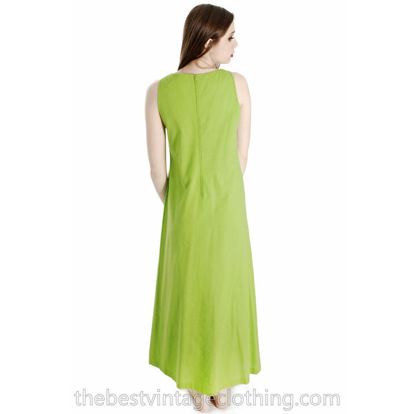 Vintage 1960s Vuokko Nurmesniemi RARE Lime Green Maxi Dress with Voluminous Cape 38/10