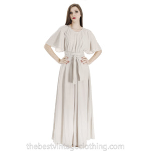 Vintage Vuokko Angel Sleeve Tent Dress Maxi Gown Dove Gray Cotton XXS 1970s