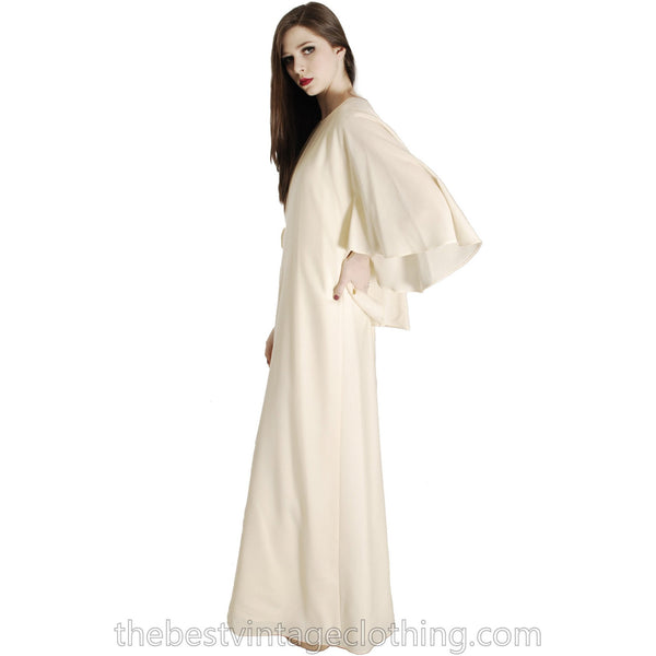 Stunning Vuokko Circle Cape Gown 1960s Ivory Wool Voile Iconic Design Finland One of a Kind 38 /8