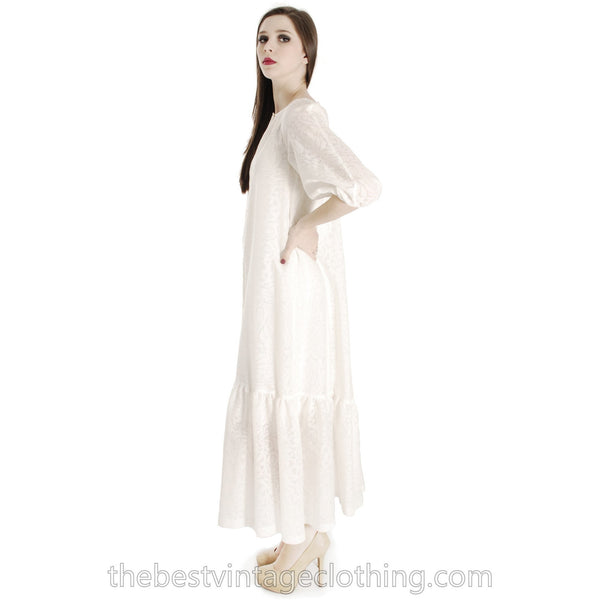 Rare Marimekko Vintage Maxi Dress Sheer White on White Damask Cotton Voile   S-M 36/8 Wedding