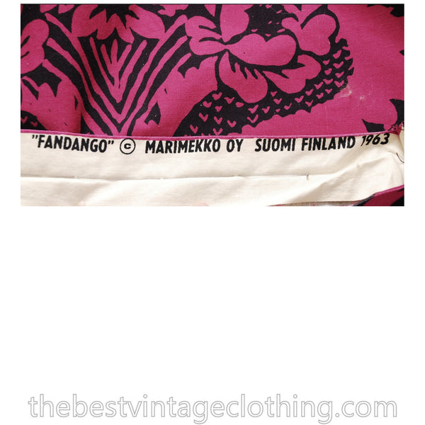 Early Marimekko Maxi Dress Maija Isola Fandango Suomi Finland Small Vintage 1960s 1963