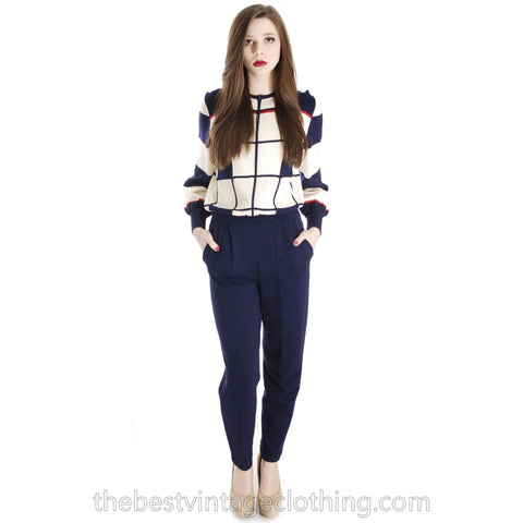 Antonella Preve  Knit  80s CACHE COLORBLOCK JUMPSUIT Red White & Blue S