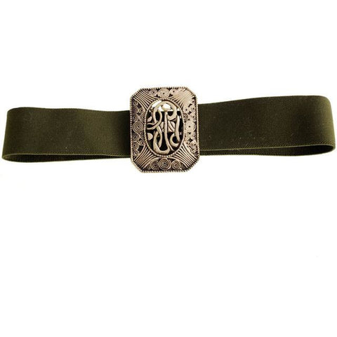 Vintage 1980s Stretchy Olive Green Elastic Belt Huge Antique Brass Buckle Art Nouveau Style - The Best Vintage Clothing  - 1