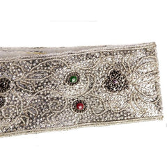 Vintage 1980s La Regale Beaded Womens Belt Silver & Clear Size M New Tags - The Best Vintage Clothing  - 3