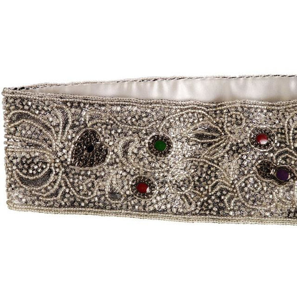 Vintage 1980s La Regale Beaded Womens Belt Silver & Clear Size M New Tags - The Best Vintage Clothing  - 4