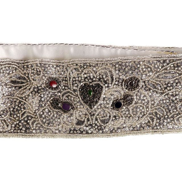 Vintage 1980s La Regale Beaded Womens Belt Silver & Clear Size M New Tags - The Best Vintage Clothing  - 5