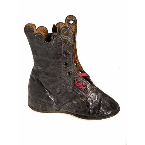 Antique Leather Baby Boot or Dolls Boot ( single) 1840s Hand Made