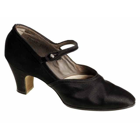 Vintage Single Mary Jane Shoe for Display or Design Black Silk Satin Heel NWOT