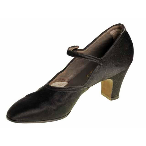 Vintage Single Mary Jane Shoe for Display or Design Black Silk Satin Heel NWOT - The Best Vintage Clothing  - 5