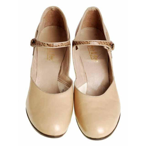 Vintage Shoes Peach Beige Mary Jane 1920s Walk Over NIB EU37 US 6.5Narrow