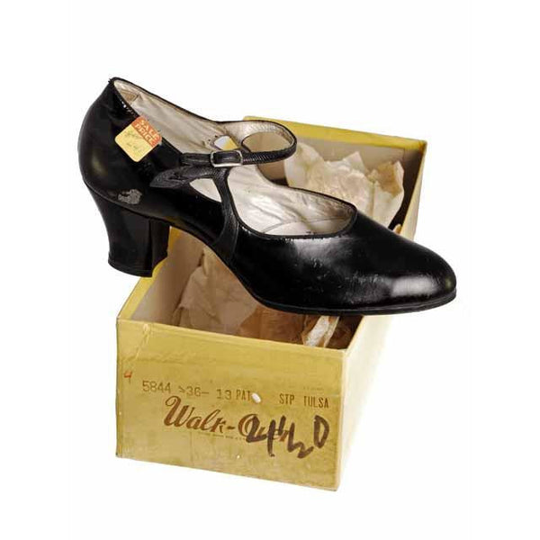 Vintage Black Mary Jane Style Heels Patent Leather Shoes 1920 NIB  EU36 US 6 - The Best Vintage Clothing  - 4