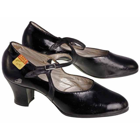 Vintage Black Mary Jane Style Heels Patent Leather Shoes 1920 NIB  EU36 US 6