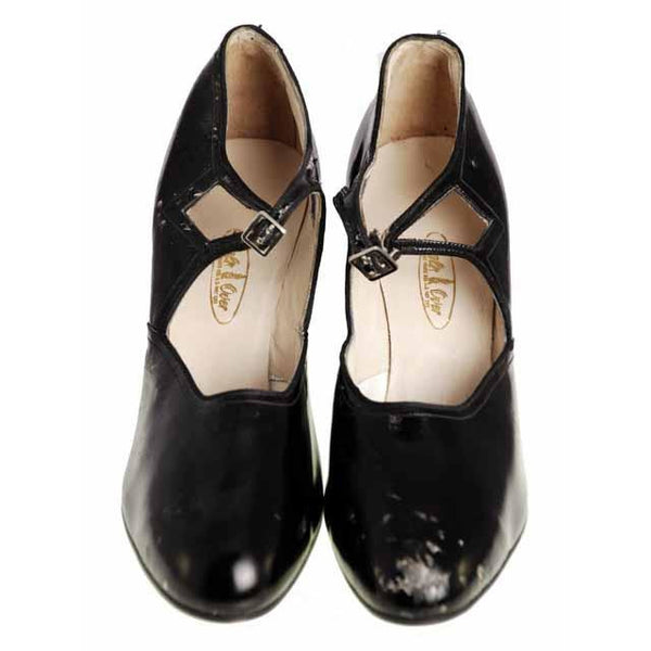 Vintage Black Mary Janes Style Heels Patent Leather Shoes 1920 NIB  EU37 US 6.5N - The Best Vintage Clothing  - 4