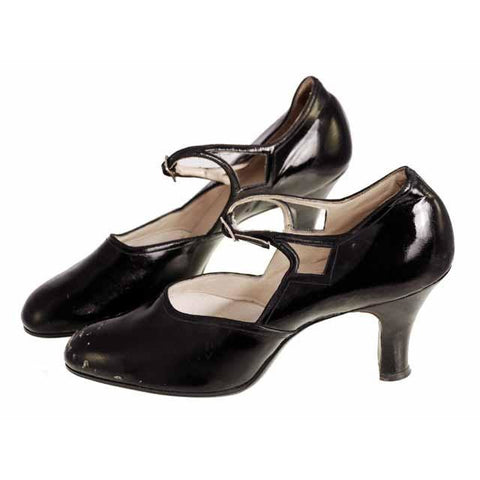 Vintage Black Mary Janes Style Heels Patent Leather Shoes 1920 NIB Sizes 6 and 6.5