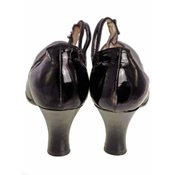 Vintage Black Mary Janes Style Heels Patent Leather Shoes 1920 NIB  EU37 US 6.5N - The Best Vintage Clothing  - 3