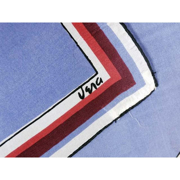 "Vintage Scarf Silk By Vera Red Blue Color Block 1950s 22"" Square - The Best Vintage Clothing  - 3"