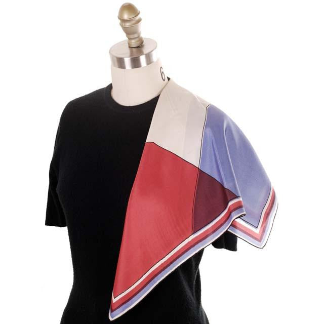 "Vintage Scarf Silk By Vera Red Blue Color Block 1950s 22"" Square - The Best Vintage Clothing  - 1"