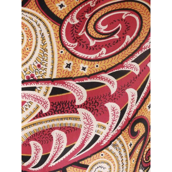 Vintage Silk Crepe Scarf Huge Red Gold Paisley C.K. Eagle & Co 1920s - The Best Vintage Clothing  - 3