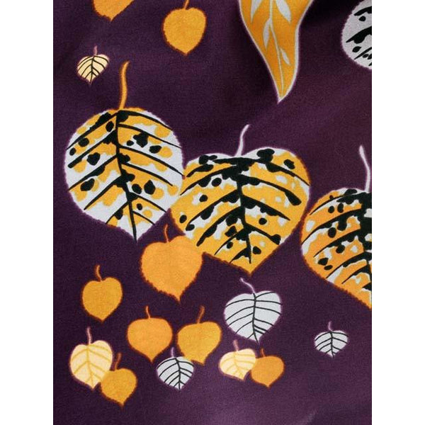 Vintage Acetate  Scarf  Fab Abstract Leaf Pattern Eggplant & Gold, Silver 1950s - The Best Vintage Clothing  - 2