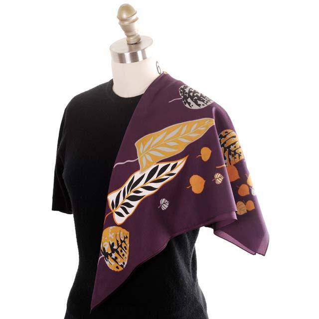 Vintage Acetate  Scarf  Fab Abstract Leaf Pattern Eggplant & Gold, Silver 1950s - The Best Vintage Clothing  - 1
