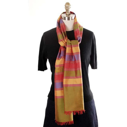 09ee29698ec9d Vintage Silk Scarf Oblong Striped Changeable Silk Bright Colors 1920s - The  Best Vintage Clothing -