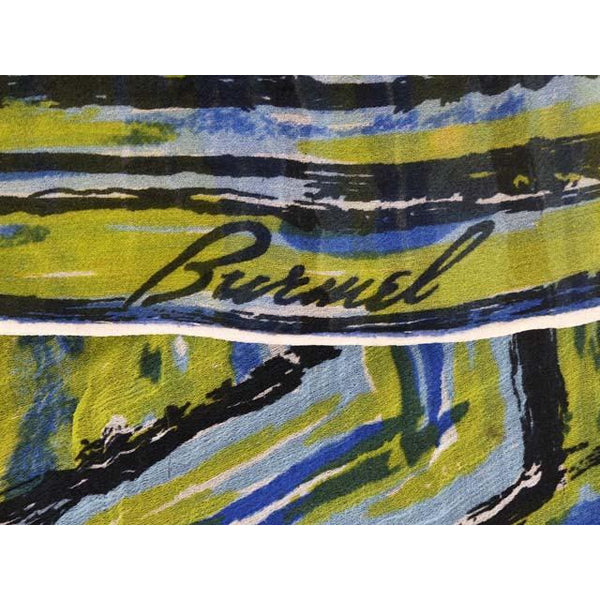 Vintage Silk Scarf Burmel Green Blue Swirl Abstract 1960s - The Best Vintage Clothing  - 3