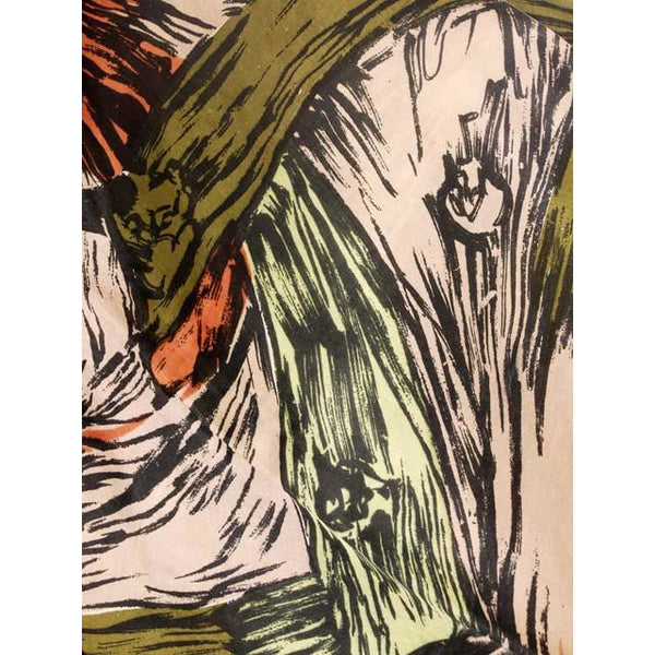 Vintage Scarf Square Ladies Silk Super Abstract Large Scale Green Orange 1940s - The Best Vintage Clothing  - 2