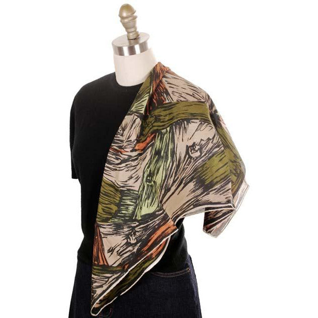 Vintage Scarf Square Ladies Silk Super Abstract Large Scale Green Orange 1940s - The Best Vintage Clothing  - 1