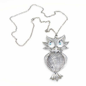 Vintage Silver Articulated Owl Necklace  Turquoise Eyes 1970S - The Best Vintage Clothing  - 1
